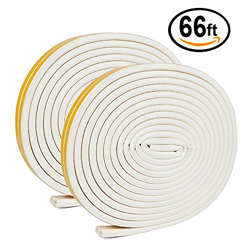Insulation Door Strip Kit, 66Ft Long Weather Stripping Doors and Windows Soundproofing Anti-Collision Self-Adhesive Weatherstrip Rubber Door Seal Strip(Pack of 2, White)