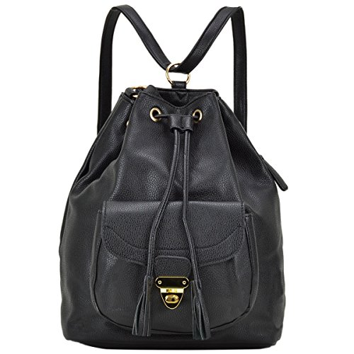 (Dasein Women's Fashion Drawstring Backpack Handbags Multipurpose Convertible Shoulder Purse School Bag (Black))