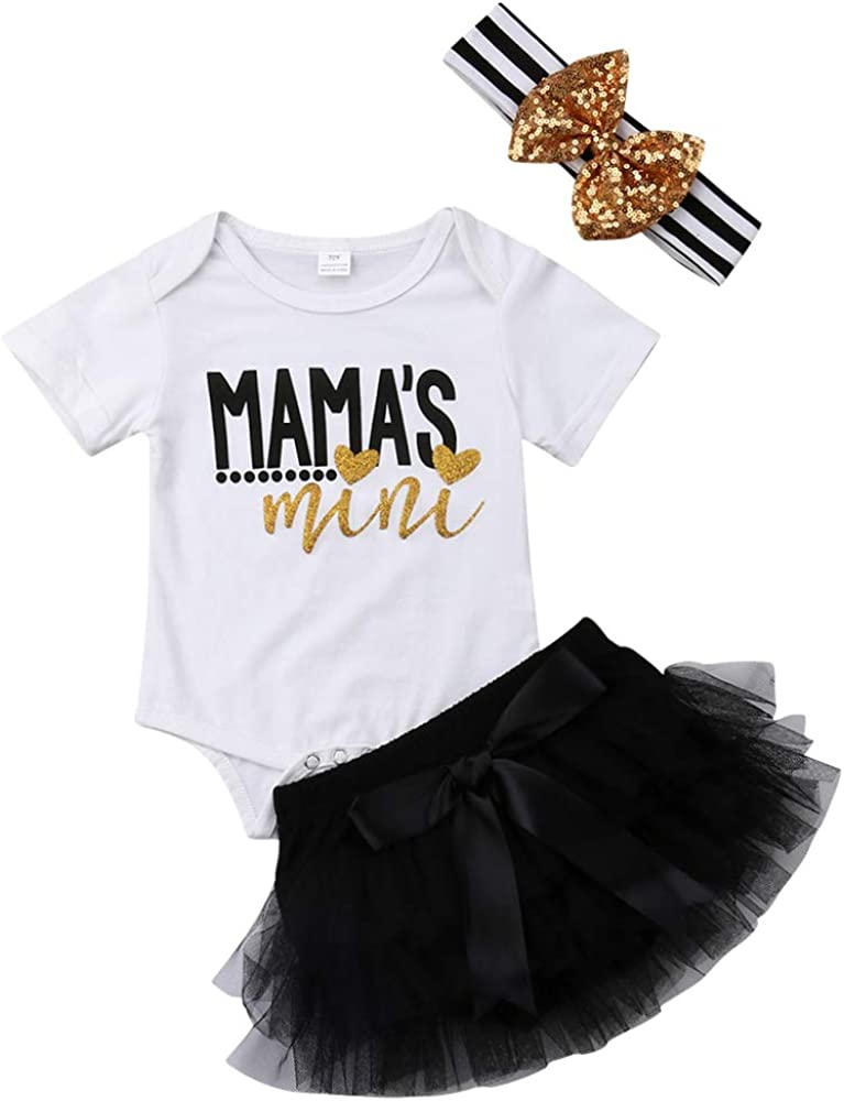 Newborn Girls Mothers Day Outfits Set Mamas Letter Print Romper Tutu Skirts Headband Clothing Skirts Set