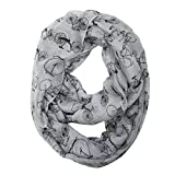 Bowbear Women's Casual Bicycle Print Infinity Scarf, Light Gray