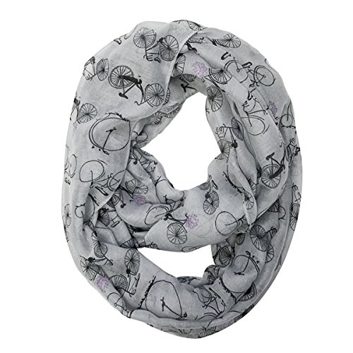 Bowbear Women's Casual Bicycle Print Infinity Scarf, Light Gray -