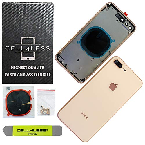 CELL4LESS Back Housing Assembly Metal Frame w/Back Glass - Wireless Charging pad - Sim Card Tray and Camera Frame and Lens for iPhone 8 Plus (Gold)