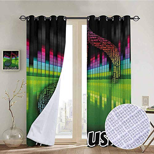 NUOMANAN Bathroom Curtains 70s Party,Acoustic Audio Vivid Colored Musical Note Harmony and Melody Soundtrack Pirnt,Multicolor,Room Darkening Waterproof Curtains for Bathroom ()