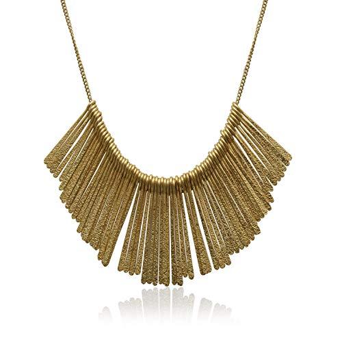 XS Accessories Women's Adjustable Antique Gold Flat Bar Metal Fringe Statement Bib -
