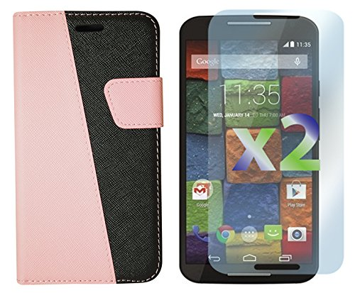 Exian Motorola Moto X2 Screen Guards x2 and Multi-Colour Wallet Case Pink/Black