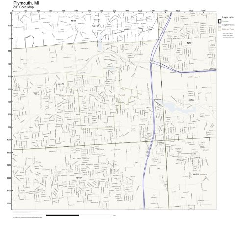 ZIP Code Wall Map of Plymouth, MI ZIP Code Map Laminated
