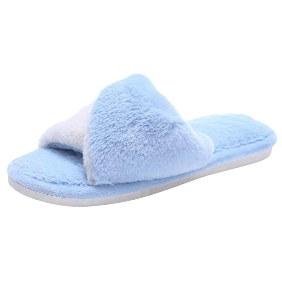 BaZhaHei-Zapatillas Zapatillas de Mujer casa de Color Liso para Mujer Zapatillas de algodón cálido