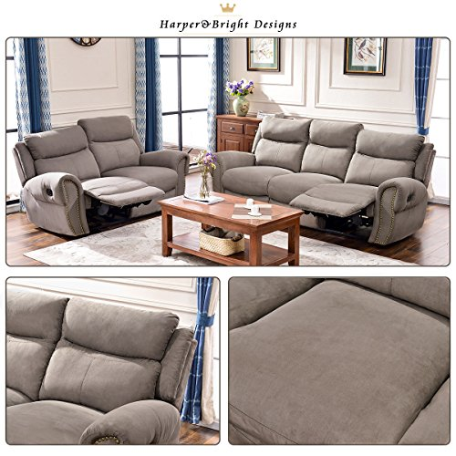 Harper & Bright Designs Sectional Sofa Set Including Chair, Loveseat and 3-Seat Sofa Recliner (Loveseat & 3-Seat Recliner)