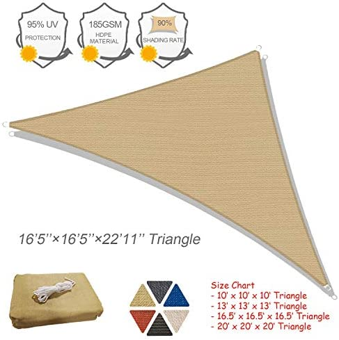 SUNLAX Sun Shade Sail, 16 5 x 16 5 x 22 11 Sand Right Triangle Outdoor Awning Shade Cover 186GSM HDPE UV Block for Patio Shading