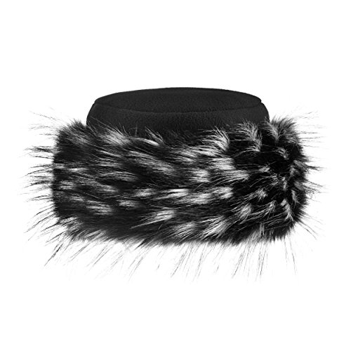 Futrzane Faux Fur Hat with Fleece Winter Ladies Women (M, Black/Black with White Jenot) by Futrzane