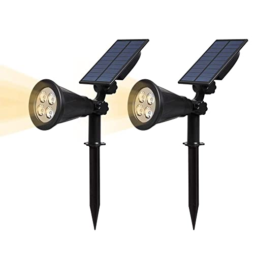 (2 Pack) T-SUN LED Solar Spotlights, 2 in 1 Easy Installation Solar Landscape Lights, Waterproof Outdoor Garden Lights, Natural White 4000K, 180°Angle Adjustable, Auto ON/Off for Security Lighting.