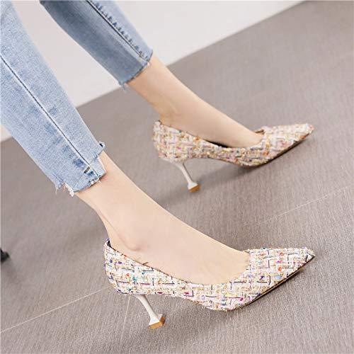 HRCxue Pumps Mode Spitze Vintage Single Schuhe weibliche Persönlichkeit Stiletto Heels, 38, WeißGold