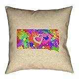ArtVerse Katelyn Smith South Dakota Love Watercolor Pillow