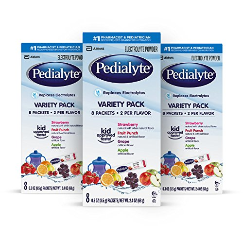 Pedialyte Electrolyte Powder Assorted Flavors Variety Pack, 0.3 oz Powder Packets, 24 Count