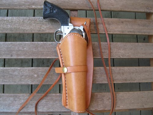 Western Gun Holster - Natural Color - Right Handed 22 Caliber Single Action Revolver - Size 6