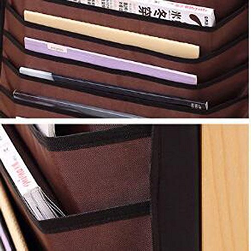 Adan Hanging Bag 10 Slot Heavy-Duty Oxford Fabric File Organizer Book Pockets Paper Sorter Pencil Staionery Holder 1Pack Multifunctional Adjustable Desk-Side(Brown) by Adan® (Image #1)