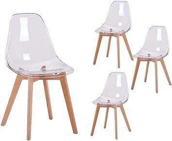 Loungitude Lots de 4 chaises scandinaves en PC transparent