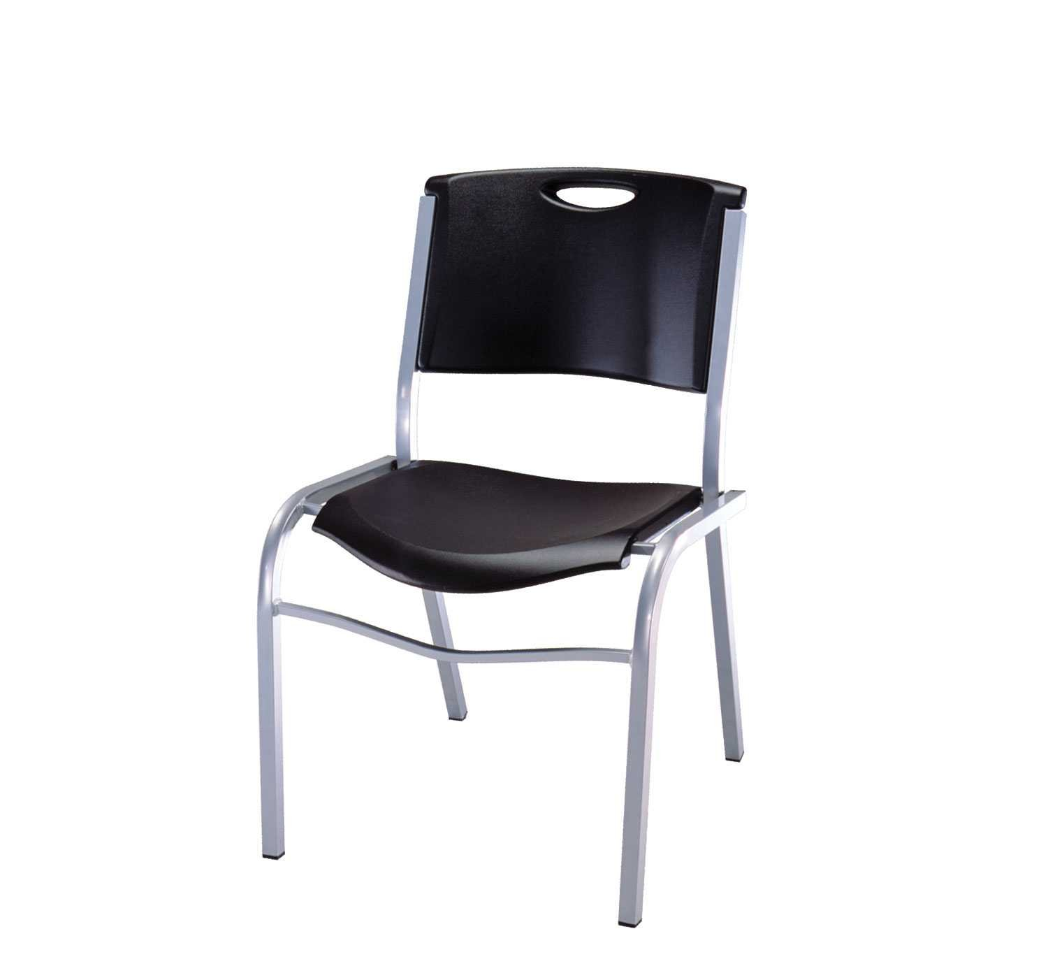 Lifetime 42830 Stacking Chair, Black with Silver Steel Frame, 4 Pack by Lifetime