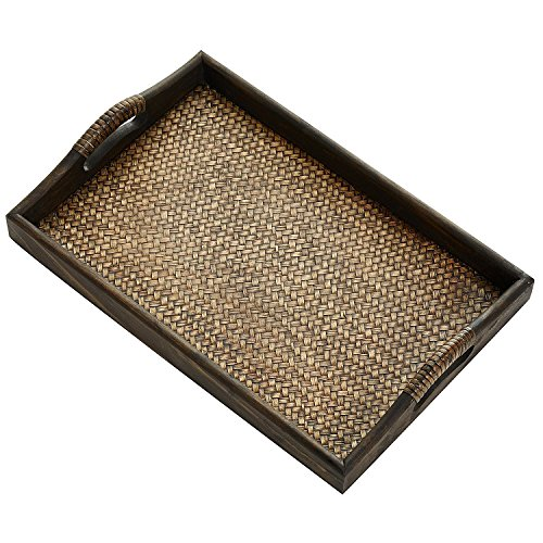 HMdecor Dark Brown Wood and Woven Rattan Nesting Serving Tray with Handles by HMdecor