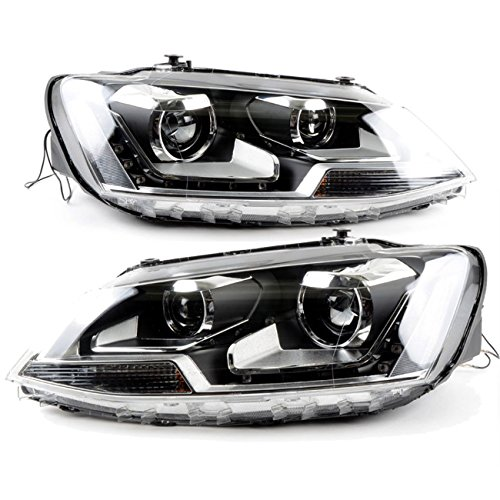 RCP - RVJ002 - Dual-projectors Headlights for 2011-2015 Volkswagen Jetta VI MK6 Sedan Facelift, OE Style, Features LED DRL Dual LED DRL, with Intelligent HID kit ()