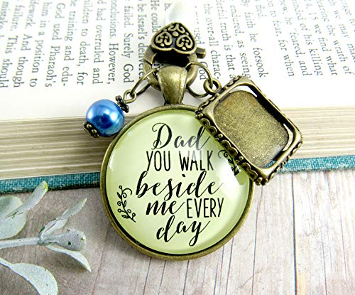 Bridal Bouquet Photo Charm Dad You Walk Beside Me Every Day Vintage Wedding Father Memorial Remembrance Jewelry