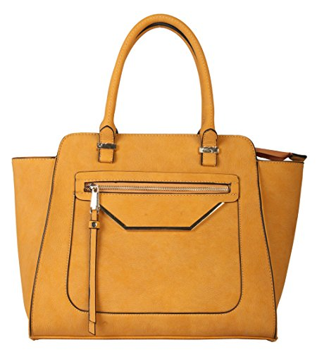 - Rimen & Co. Shell Shape Tote Accented with Front Zippered Pocket Womens Purse Handbag GS-2993 Yellow