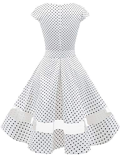 Small White Dot Vestito Polka Cocktail Maniche Audery Annata Retrò Abito Gardenwed Corte Partito Black Con 1950 Swing Da Rockabilly WgwfAnZa4