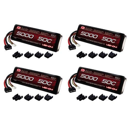 UPC 845623062673, Venom 50C 3S 5000mAh 11.1V LiPo Battery with Universal Plug (EC3/Deans/Traxxas/Tamiya) x4 Packs