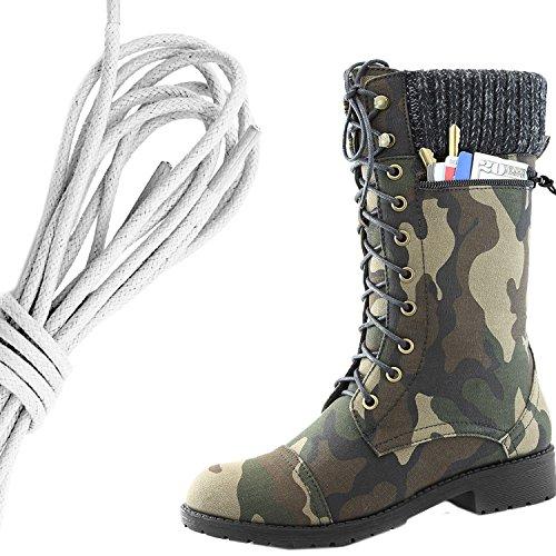Dailyshoes Femmes Style De Combat Lacets Cheville Bottine Bout Rond Militaire Tricot Carte De Crédit Couteau Argent Poche Portefeuille Bottes, Blanc Camouflage Cv