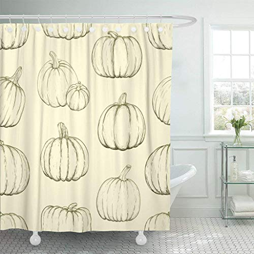 GETTOGET Brown Pattern Pumpkins for Thanksgiving Day Halloween Sketchy Vintage Shower Curtain Bathroom Sets Hooks,Waterproof Polyester Curtain]()