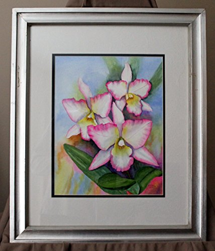 ORIGINAL WATERCOLOR PAINTING Pink Orchids flowers OOAK framed signed wall art decoration Clay water ()