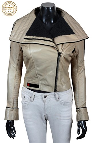 Star Wars Qi'ra Leather Jacket - Solo A Star Wars Story Qira Shearling White Leather Jacket (Women Qira Leather Jacket, XL)