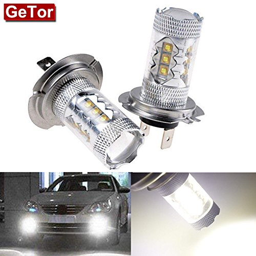 XANGETOR 2x High Power Pure White 80W H7 CREE LED Bulbs for