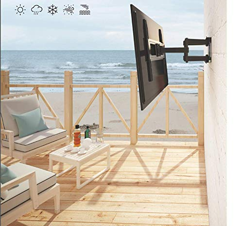 Mount Plus MP-LPA36-443W Outdoor Anti-Theft Full Motion Swivel Weatherproof Tilt TV Wall Mount for Most 32''~70'' TVs Perfect Solution for Outdoor TV (Max VESA 400x400)