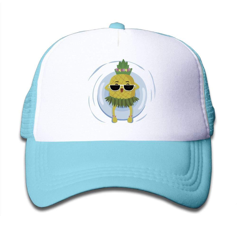 NO4LRM Kid's Boys Girls Sea Grass Pineapple Youth Mesh Baseball Cap Summer Adjustable Trucker Hat
