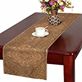 InterestPrint Retro Mandala Style Floral Circle Wood Carving Art Table Runner Linen & Cotton Cloth Placemat Home Decor for Kitchen Dining Wedding Party 16 x 72 Inches