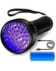 Morpilot®UV-zaklamp, oplaadbare UV-zaklamp met 51 LED, 395 nm zaklamp, draagbare UV-licht-UV-detector voor detectie van vlekken, urine en schorpioen van huisdieren, micro-USB-kabel en batterij inbegrepen