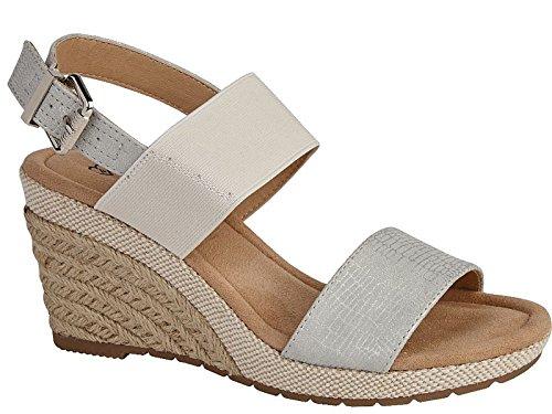Foster Footwear - Sandalias con Cuña chica mujer plata