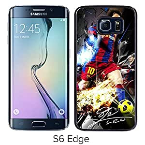 Soccer Player Lionel Messi(3) Black Samsung Galaxy S6 Edge Screen Cover Case Luxurious and Fashion Design