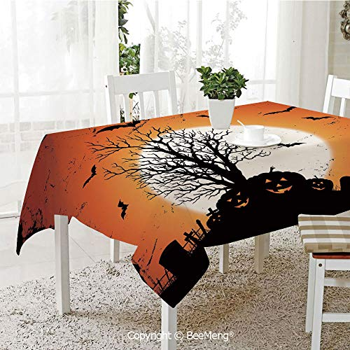 BeeMeng Large dustproof Waterproof Tablecloth,Family Table Decoration,Vintage Halloween,Grunge Halloween Image with Eerie Atmosphere Graveyard Bats Pumpkins,Orange Black,70 x 104 -