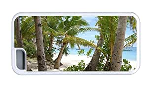 Hipster cheap iPhone 5C cases beach palms sand vacation White for Apple iPhone 5C
