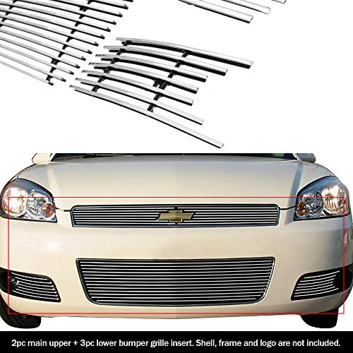 Grille Emblem Impala - APS Fits 2006-2013 Chevy Impala Billet Grille Grill Insert Combo #C67920A