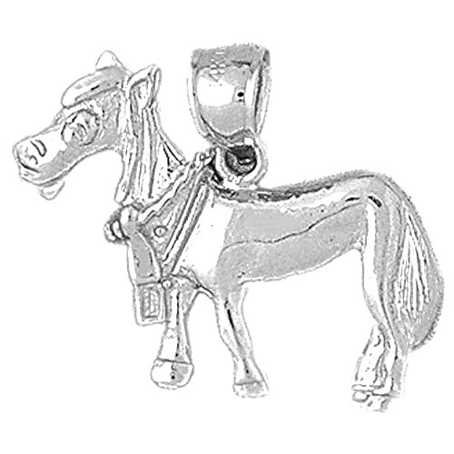 - Jewels Obsession Donkey Charm Pendant | 14K White Gold Donkey Pendant - 21 mm