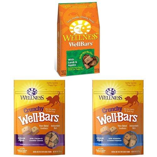 (Crunchy Treats Bulk Pack 1: Wellbars Lamb & Apples 20 Oz , Wellbars Chicken And Cheddar 8 Oz, Wellbars Whitefish & Sweet Potato 8 Oz)