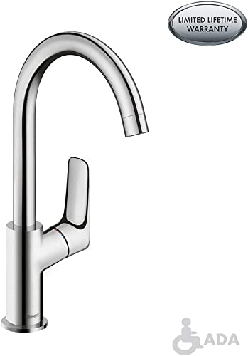 hansgrohe Logis Modern Low Flow Water Saving 1-Handle 1 12-inch Tall Bathroom Sink Faucet in Chrome, 71130001