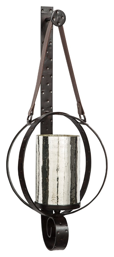 Ashley Furniture Signature Design - Despina Circular Metal Wall Sconce - Leather Strap for Hanging - Brown