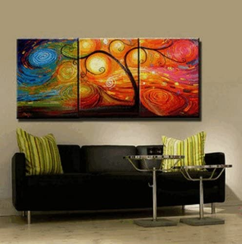 Abstract Wall Canvas Art Sets Painting for Home Decoration 100 Hand Painted Oil Painting Modern Art Large Canvas Wall Art Stretched and Ready to Hang Free Shipping 3 Piece Canvas Art Tree of Life