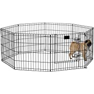 MidWest Foldable Metal Exercise Pen / Pet Playpen, Black w/ door, 24 W x 24 H Inches