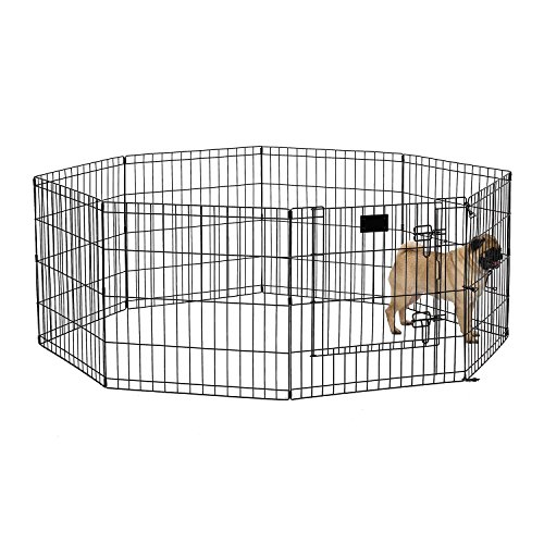 MidWest Foldable Metal Exercise Pen / Pet Playpen, Black w/ door, 24