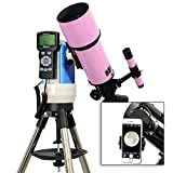 TwinStar Pink 80mm iOptron Computer Controlled Refractor Telescope With Universal Smartphone Camera Adapter